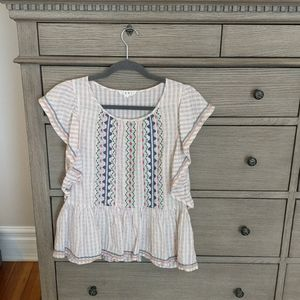 THML Embroidered Stripe Flutter Sleeve Top L